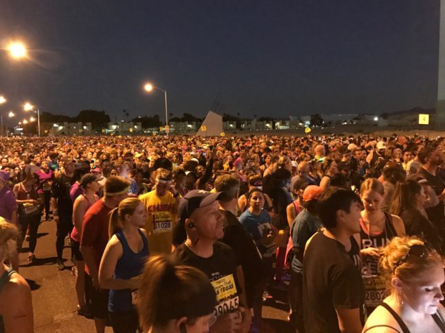 Runners Lining Up For The Start Of The Las Vegas Rock 'n Roll Marathon