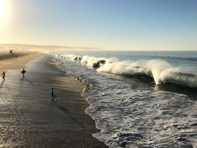 Ocean Waves On A Sunday Morning At Newport Beach